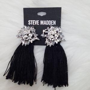 Steve Madden Crystals and Black Tassels Earrings